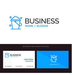 Bucket cleaning floor home blue business logo and vector