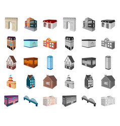 building and architecture cartoonmono icons in vector image