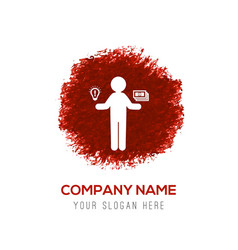 Business man holding dollar icon - red watercolor vector