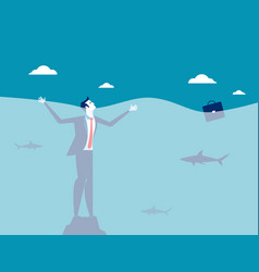 businessman drowning concept business vector image