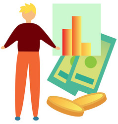 Businessman working with finance data icon vector