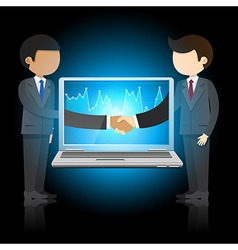 businessmen shaking hands and laptop vector image