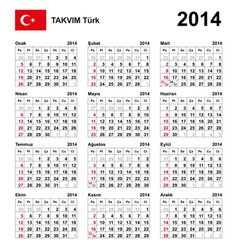 Calendar 2014 Turkey Type 21 vector image