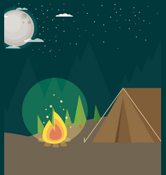 Camping in forest at night flat design style vector
