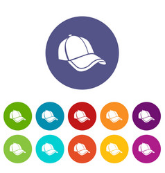cap icons set color vector image