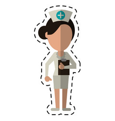 cartoon nurse work hospital clipboard vector image