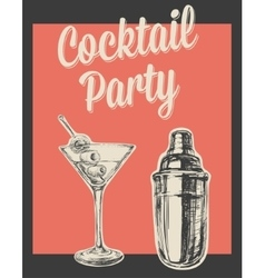 Cocktail Party Invitation Poster vector