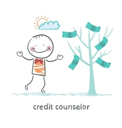 Credit counselor near the money tree vector