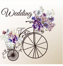 Cute invitation with fake bicycle and flowers vector