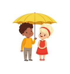 Cute little kids standing together under yellow vector