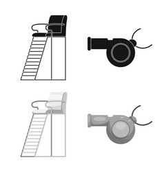 Design of pool and swimming icon set of vector