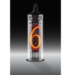 Digit 6 on vintage vacuum tube display vector