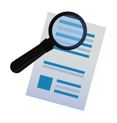 Document paper magnifying glass search vector