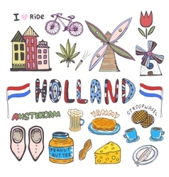 Doodle hand sketch collection of Holland icons vector image
