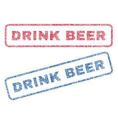 Drink beer textile stamps vector