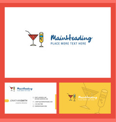 drinks logo design with tagline front and back vector image