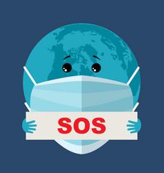 earth in a gauze medical bandage epidemic virus vector image