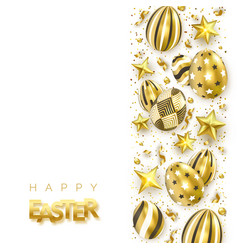 easter banner with realistic golden decorated eggs vector image