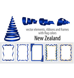 elements ribbons and frames with flag colors new vector image