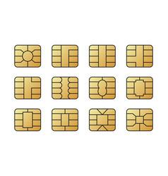 Emv chips for banking plastic card digital nfc vector