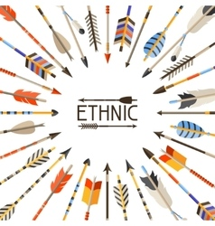 Ethnic background with indian arrows in native vector image