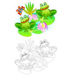 Fantasy couple cute frogs in swamp vector