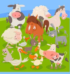 farm animals on meadow cartoon vector image