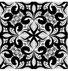 Floral black and white vintage seamless pattern vector