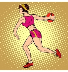 Girl discus thrower athletics summer sports games vector
