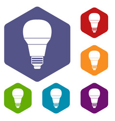 Glowing led bulb icons set vector