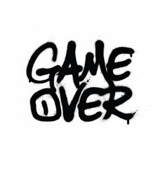 Graffiti game over text sprayed in black over vector