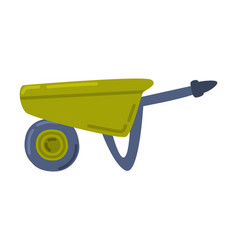 Green wheelbarrow gardening and agricultural vector