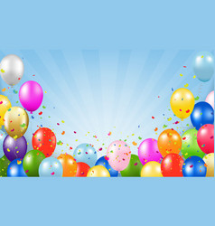 Happy birthday card and balloons blue background vector