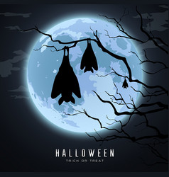 Happy halloween sleeping bat in tree on moon vector