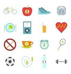 Healthy life style flat set vector image