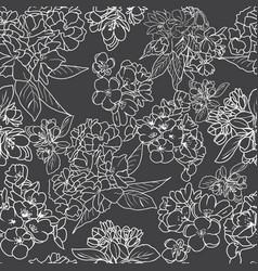 herry blossom outline botanical background vector image