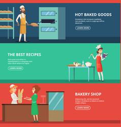 horizontal banners various characters bakers at vector image