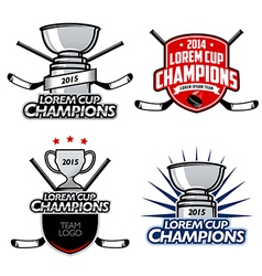 Ice hockey cup champions labels and emblems vector image