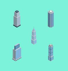 isometric skyscraper set of exterior apartment vector image