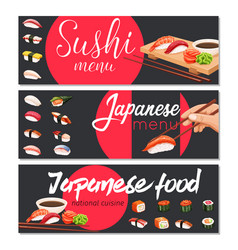 Japanese sushi roll vector