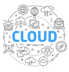 Line flat circle cloud vector