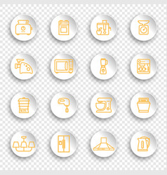 linear icons kitchen appliances on white round vector image