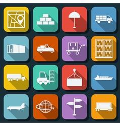 Logistics flat icons vector image
