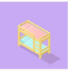 Low poly isometric kids bed vector