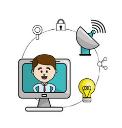 man inside of computer and technology wifi icons vector image
