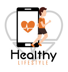 man jogging smartphone heart rate healthy vector image