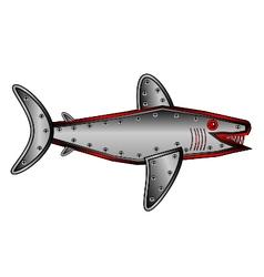 Mechanical fish shark on white vector image