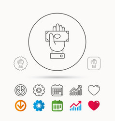 Money icon cash in giving hand sign vector