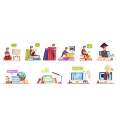 Online courses cartoon set vector