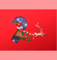 paper cut santa claus christmas deer sled isolated vector image